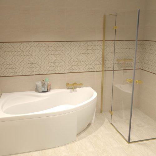 vizualizácia zlatý sprchový kút